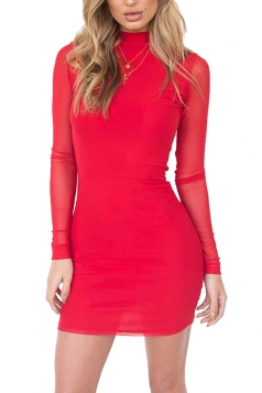 Women Sexy Long Mesh Sleeved Mini Bodycon Dress Red