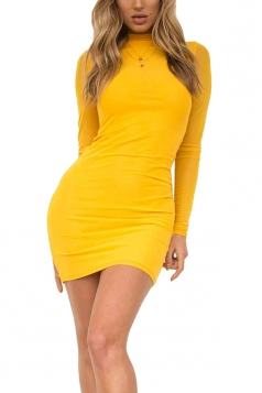 Women Sexy Long Mesh Sleeved Mini Bodycon Dress Yellow