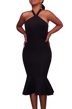 Women Sexy Halter Backless Fishtail Bodycon Dress Black
