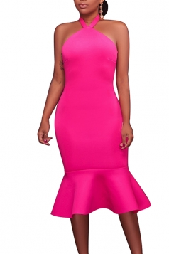 Women Sexy Halter Backless Fishtail Bodycon Dress Rose Red