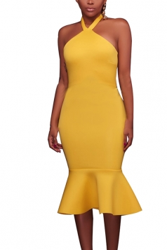 Women Sexy Halter Backless Fishtail Bodycon Dress Yellow