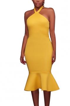Women Sexy Halter Backless Fishtail Bodycon Dress Yellow