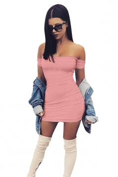 Womens Sexy Off Shoulder Plain Bodycon Mini Dress Pink