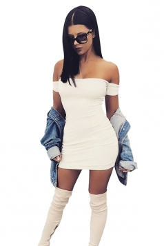 Womens Sexy Off Shoulder Plain Bodycon Mini Dress White