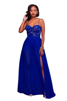 Sapphire Blue Spaghetti Straps Lace Patchwork High Slit Evening Dress