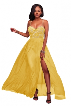 Yellow Spaghetti Straps Lace Patchwork High Slit Evening Dress