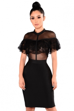 Womens Sexy Mesh See Through Club Wear Bodycon Dress Black