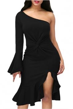 Black Twist And Ruffle Fishtail Accent One Shoulder Evening Dress