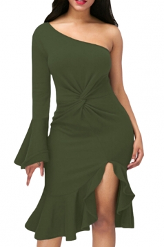 Green Twist And Ruffle Fishtail Accent One Shoulder Evening Dress
