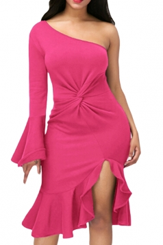 Rose Red Twist And Ruffle Fishtail Accent One Shoulder Evening Dress