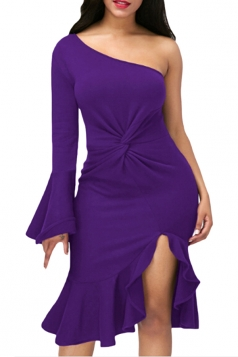Purple Twist And Ruffle Fishtail Accent One Shoulder Evening Dress