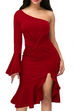Red Twist And Ruffle Fishtail Accent One Shoulder Evening Dress