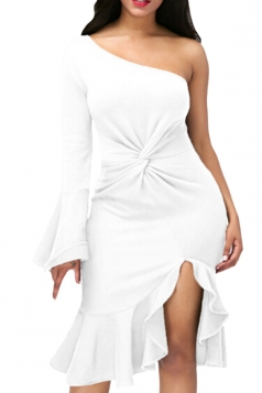 White Twist And Ruffle Fishtail Accent One Shoulder Evening Dress