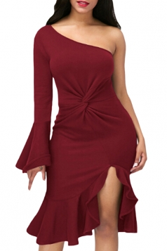 Ruby Twist And Ruffle Fishtail Accent One Shoulder Evening Dress