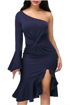 Navy Blue Twist And Ruffle Fishtail Accent One Shoulder Evening Dress