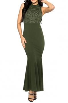 Women Sexy Rhinestone Sleeveless Fishtail Evening Dress Army Green