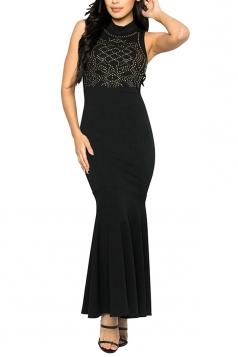Women Sexy Rhinestone Sleeveless Fishtail Evening Dress Black