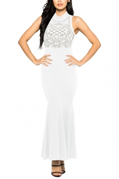 Women Sexy Rhinestone Sleeveless Fishtail Evening Dress White