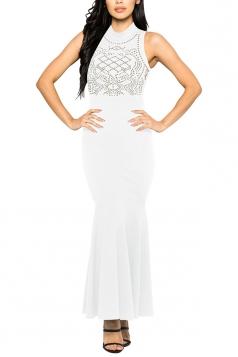 Women Sexy Rhinestone Sleeveless Fishtail Evening Dress White