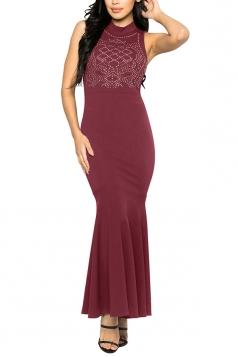 Women Sexy Rhinestone Sleeveless Fishtail Evening Dress Ruby
