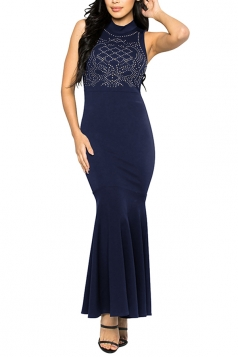 Women Sexy Rhinestone Sleeveless Fishtail Evening Dress Navy Blue