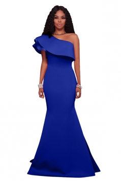 Women Sexy One Shoulder Ruffle Maxi Bodycon Clubwear Dress Blue