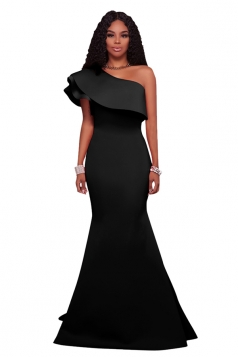 Women Sexy One Shoulder Ruffle Maxi Bodycon Clubwear Dress Black