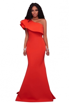 Women Sexy One Shoulder Ruffle Maxi Bodycon Clubwear Dress Orange