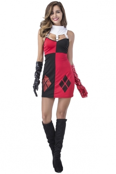 Argyle Black and Red Harley Quinn Fancy Dress Halloween Costume
