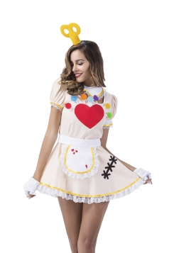 Sweet Heart Print Maid Costume