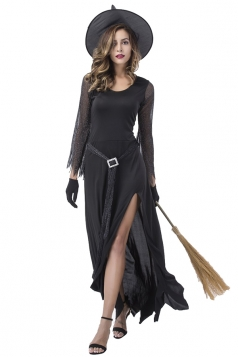 Elegant Witch Costumes Maxi Dress Black