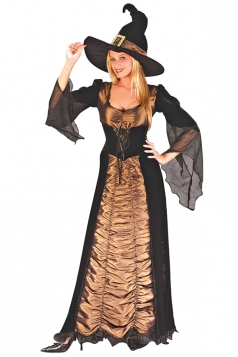 Fancy Taffeta Witch Costume Brown