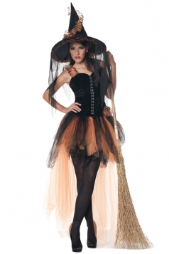 Hollow'S Eve Women Orange and Black Witch Costume