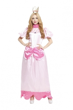 Women Princess Peach Dress Party Halloween Costumes Pink