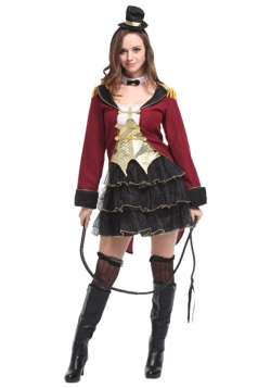 Women Circus Lion Tamer Halloween Costume Ruby