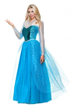 Womens Frozen Elsa Ice Queen Halloween Costume Blue