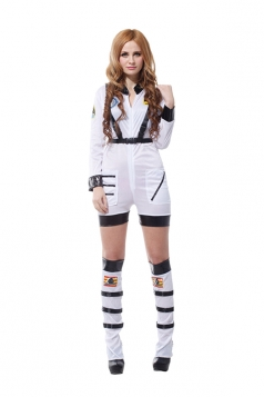 Sexy Astronaut Rocket Space Girl Romper Adult Halloween Costume White