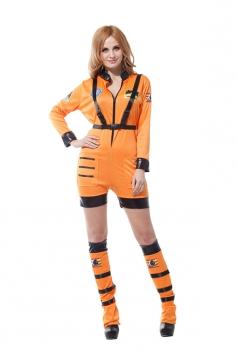 Sexy Astronaut Rocket Space Girl Romper Adult Halloween Costume Orange