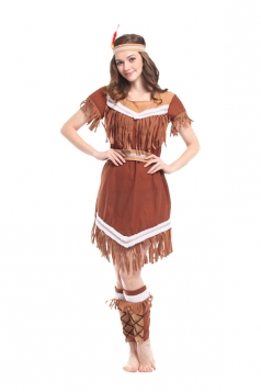 Women Indian Princess Halloween Costume Brown