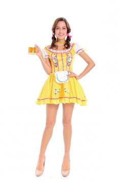 Sexy Oktoberfest Beer Girl Costume Yellow