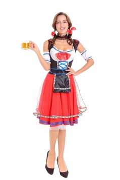 Halloween Oktoberfest Maid Costume Carnival Festival Beer Girl Red