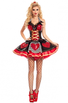 Women Sexy Queen Of Hearts Costume Halloween Costume Red