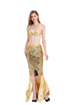 Women Sexy Mermaid Dress Halloween Costume Gold