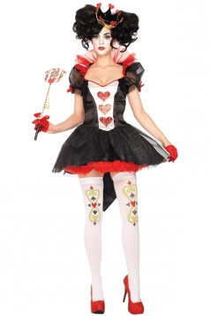 Women Queen Of Hearts Halloween Costume Black