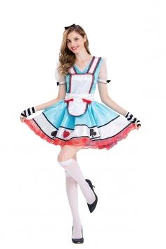 Women Alice In Wonderland Poker Dress Halloween Costume Blue