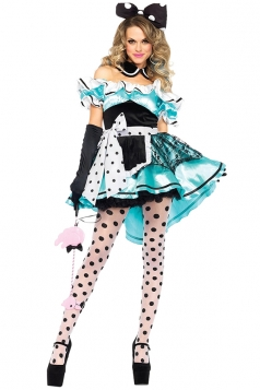 Alice In Wonderland Polka Dots Maid Halloween Costume Blue