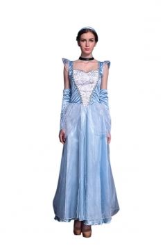 Women Halloween Elsa Frozen Costume Dress Blue