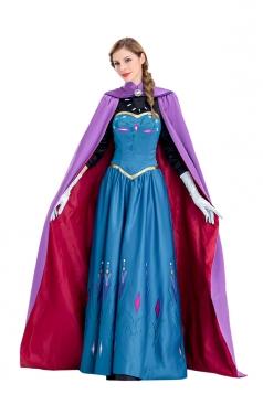 Women Halloween Anna Frozen Costume Blue