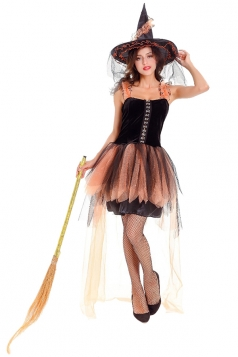 Womens Halloween Lace Witch Costume Orange