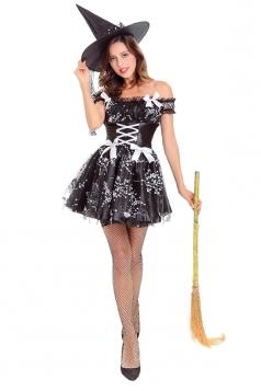 Womens Halloween Mesh Witch Costume Black